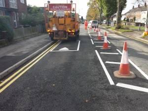 road marking lorry