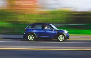 blue 5 door car